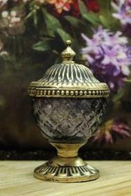 Fialový rustikálny svietnik v skle s kopulou 13cm