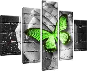 Obraz s hodinami Zelený motýľ v dlaniach 150x105cm ZP2362A_5H