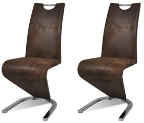 Sada hnedých konzolových stoličiek z koženky v tvare U, 2 ks