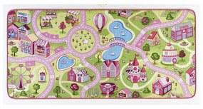Detský koberec s ružovými detailmi Hanse Home City, 90 × 200 cm