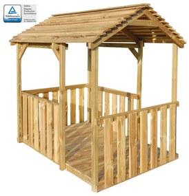 vidaXL Vonkajší detský domček na hranie 122,5x160x163cm, FSC borovica
