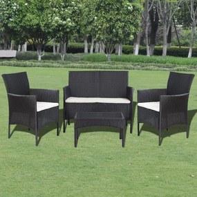vidaXL 7-dielna záhradná sedacia súprava polyratanová, čierna a krémovo-biela