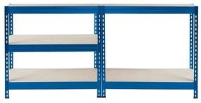 Majster Regál Bezskrutkový kovový regál s HDF policou 180x120x45cm, 5 políc, 360kg na policu, modrá farba