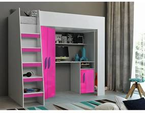 Detská poschodová posteľ s písacím stolom Aida - biela/ružová - fialové úchyty