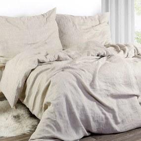 Goldea exkluzívne ľanové obliečky - prírodné režné 140 x 220 a 70 x 90 cm