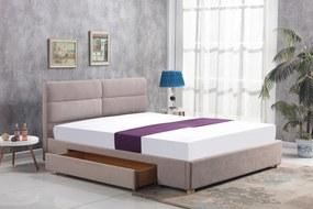 HALMAR Merida 160 čalúnená manželská posteľ s roštom béžová