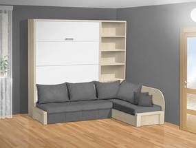 Nabytekmorava Sklápacia posteľ s rohovou pohovkou VS 3075P - 200x180 cm nosnost postele: štandardná nosnosť, farba lamina: orech 729, farba pohovky: nubuk 133 caramel