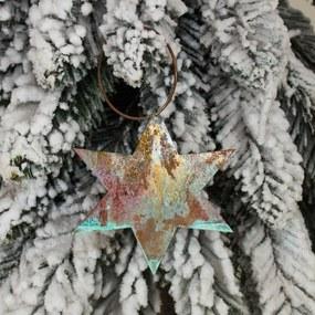 Vianočná ozdoba na stromček hviezda medená 9cm