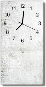Sklenené hodiny vertikálne  biela stena
