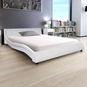 243135 Edco Rám postele z umelej kože, 140x200 cm, biely