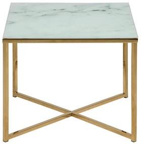 Alisma príručný stolík 50x50 biela / zlatá