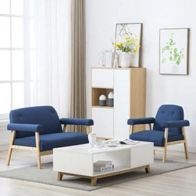 vidaXL 3-miestna sedacia súprava 2 ks, látková, modrá