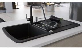 vidaXL Granitový kuchynský drez s dvomi vaničkami, čierny