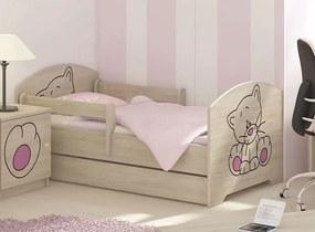 MAXMAX Detská posteľ s výrezom MAČIČKA - ružová 140x70 cm + matrac ZADARMO!
