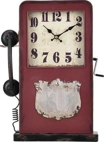 [en.casa]® Stolové hodiny tvar telefónnej búdky - analógové - 33 x 9 x 40,5 cm - farebné - sklo