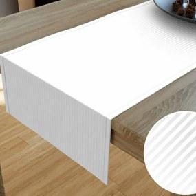 Goldea damaškový behúň na stôl - vzor drobné biele prúžky 35x180 cm