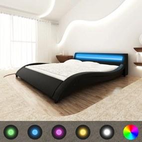 vidaXL Posteľ s matracom, LED, čierna, umelá koža 180x200 cm