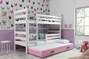 Poschodová posteľ s prístelkou ERIK 3 - 200x90cm Biely - Ružový