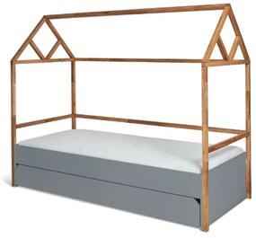PROXIMA.store - Štýlová detská posteľ LOTTA so šuflíkom - sivá - 90x200