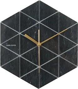 Nástenné hodiny Marble Hexagon – čierne