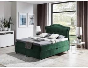 Elegantná rustikálna posteľ Bradley 120x200, zelená + TOPPER