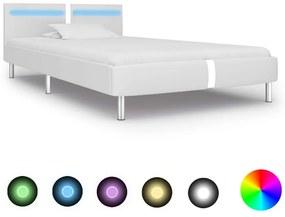vidaXL Posteľný rám s LED, biely, umelá koža 90x200 cm