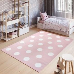 Detský koberec PINKY Z235A White Dots ružový - 80x150 cm