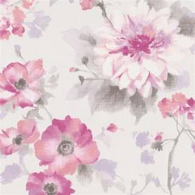 Vliesové tapety na stenu G.M.K. Fashion for walls 10051-05, rozmer 10,05 m x 0,53 m, kvety ružovo-fialové na bielom podklade, Erismann