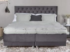 Vansbro 180 polohovateľná boxspring manželská posteľ sivý zamat čelo Furuvik