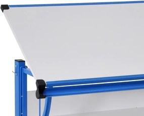 Polohovateľný písací stôl Roufas, modrý/biely