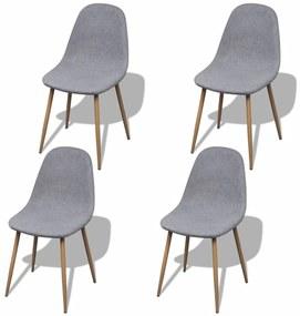 242089 vidaXL Svetlo šedé látkové kuchyské stoličky bez opierok, železné nohy 4 ks