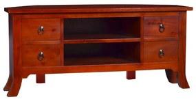 vidaXL TV skrinka klasická hnedá 100x40x45 cm masívne mahagónové drevo