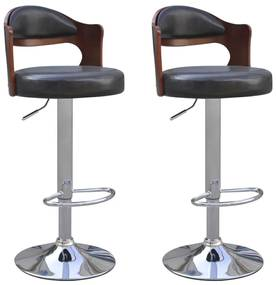 vidaXL Barové stoličky z ohýbaného dreva, poťah z umelej kože, 2 ks