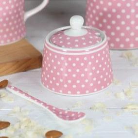 Isabelle Rose Porcelánová cukornička s bodkami - ružová