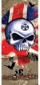 Dverová fototapeta - FT2265 - Lebka – anglická vlajka 91cm x 211cm - Vliesová fototapeta