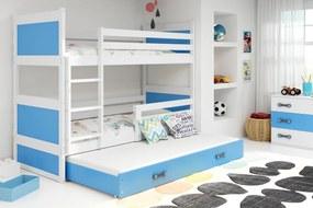 Poschodová posteľ s prístelkou RICO 3 - 190x80cm - Biely - Blankytný