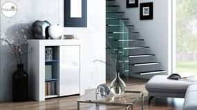 Mazzoni MILA 1D LED skrinka biela / biely lesk, obývacia izba