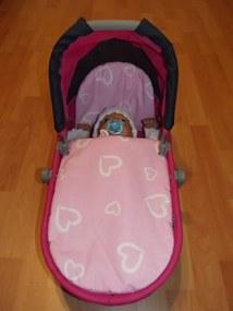 SDS Perinky do kočíka pre bábiky srdiečka ružová bavlna, 27x40, 25x20 cm