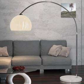 Dizajnová oblúková stojanová lampa s mramorovou základňou - nastaviteľná 146 - 220 cm