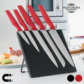 Nože s Magnetickým Stojanom Bravissima Kitchen 6 kusov, Fekete