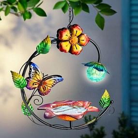 Závesná solárna fontánka s pítkom Butterfly