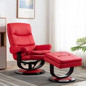 vidaXL Sklápacie kreslo, červené, umelá koža a ohýbané drevo