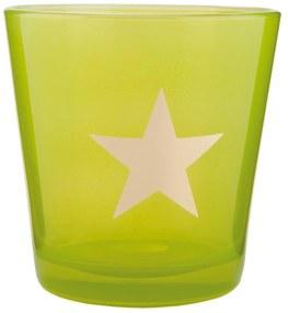 Zelený svietnik na čajovú sviečku s hviezdou - Ø 10 * 10 cm