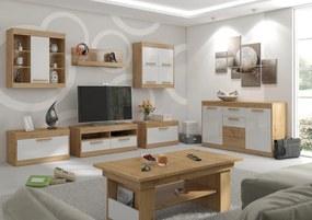 MEBLOCROSS Maximus obývacia izba dub artisan / biely lesk