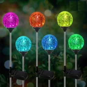 Bezdoteku LEDSolar solárne vonkajšie gule na tyči 2 ks, so senzorom, bezdrôtové, IPRO, 1W, multicolor             farba
