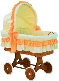 Proutěný koš na miminko s boudičkou Martin - oranžová