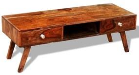 vidaXL TV stolík z dreveného masívu sheesham s 2 zásuvkami, vintage, 40 cm