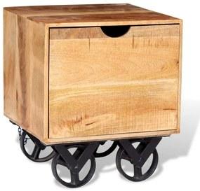 vidaXL Bočný stolík so zásuvkou a kolieskami, mangovníkové drevo, 40x40x45cm