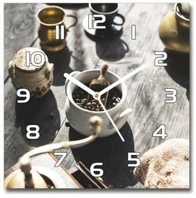 Sklenené hodiny štvorec Mlynček na kávu pl_zsk_30x30_f_124315859
