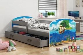 BMS Group Jednolôžková posteľ LUKI - so zásuvkou - GRAFIT